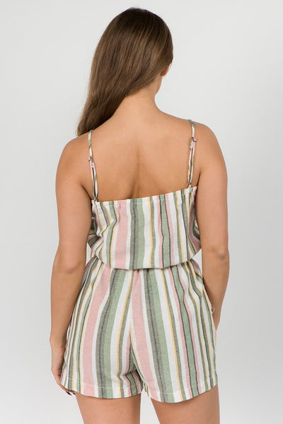 Rachael Multi-Color Striped Romper - Elizabeth's Boutique