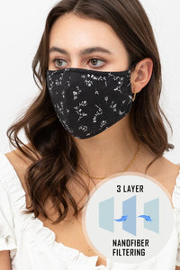 Floral Face Mask- Black - Elizabeth's Boutique