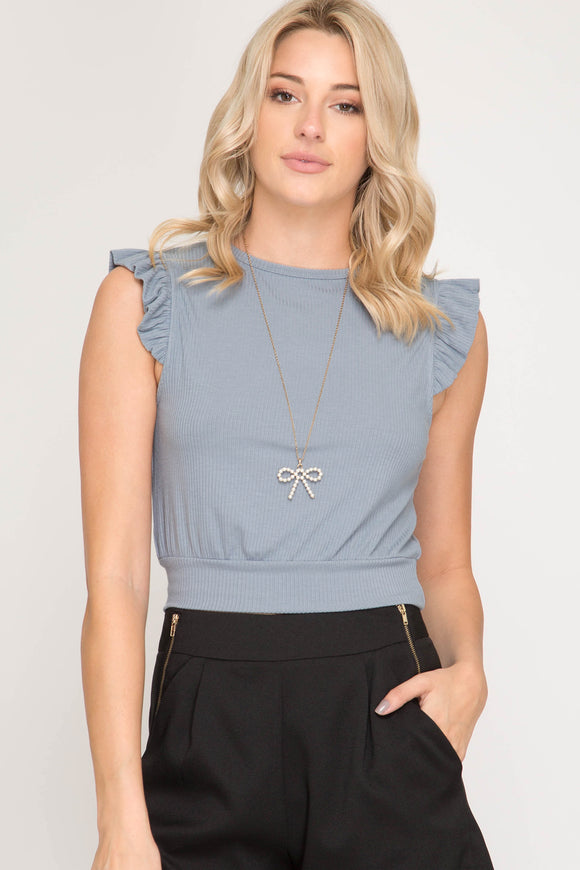 Stephanie Ruffled sleeve Crop Top - Elizabeth's Boutique