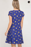 Vanessa Royal Blue Floral Dress - Elizabeth's Boutique
