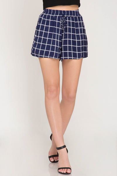 Amy Striped Shorts in Navy - Elizabeth's Boutique