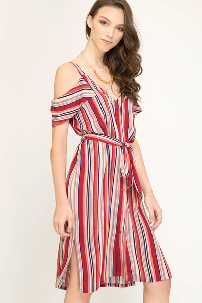 Sophia Striped Midi Dress - Elizabeth's Boutique