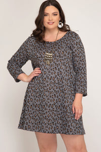 Carey Leopard Dress Plus Size Dress - Elizabeth's Boutique