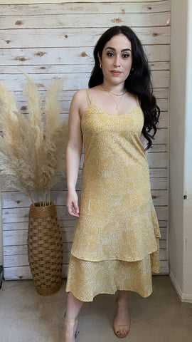 Dot Print Yellow Midi Dress