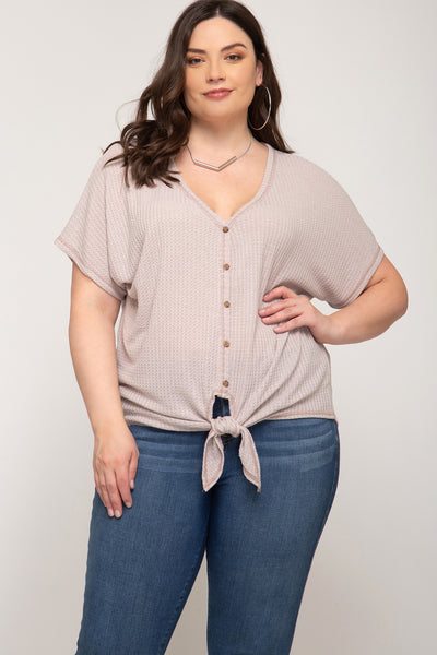 Eliza Button Down Plus Size Top - Elizabeth's Boutique