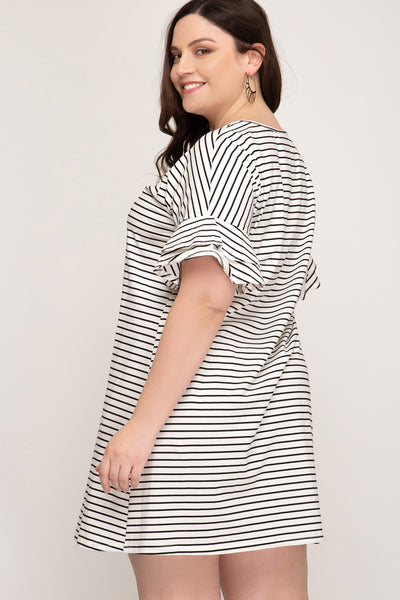 Emily Striped Plus Size Dress - Elizabeth's Boutique