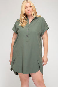 Amelia Olive Tunic Plus Size Dress - Elizabeth's Boutique