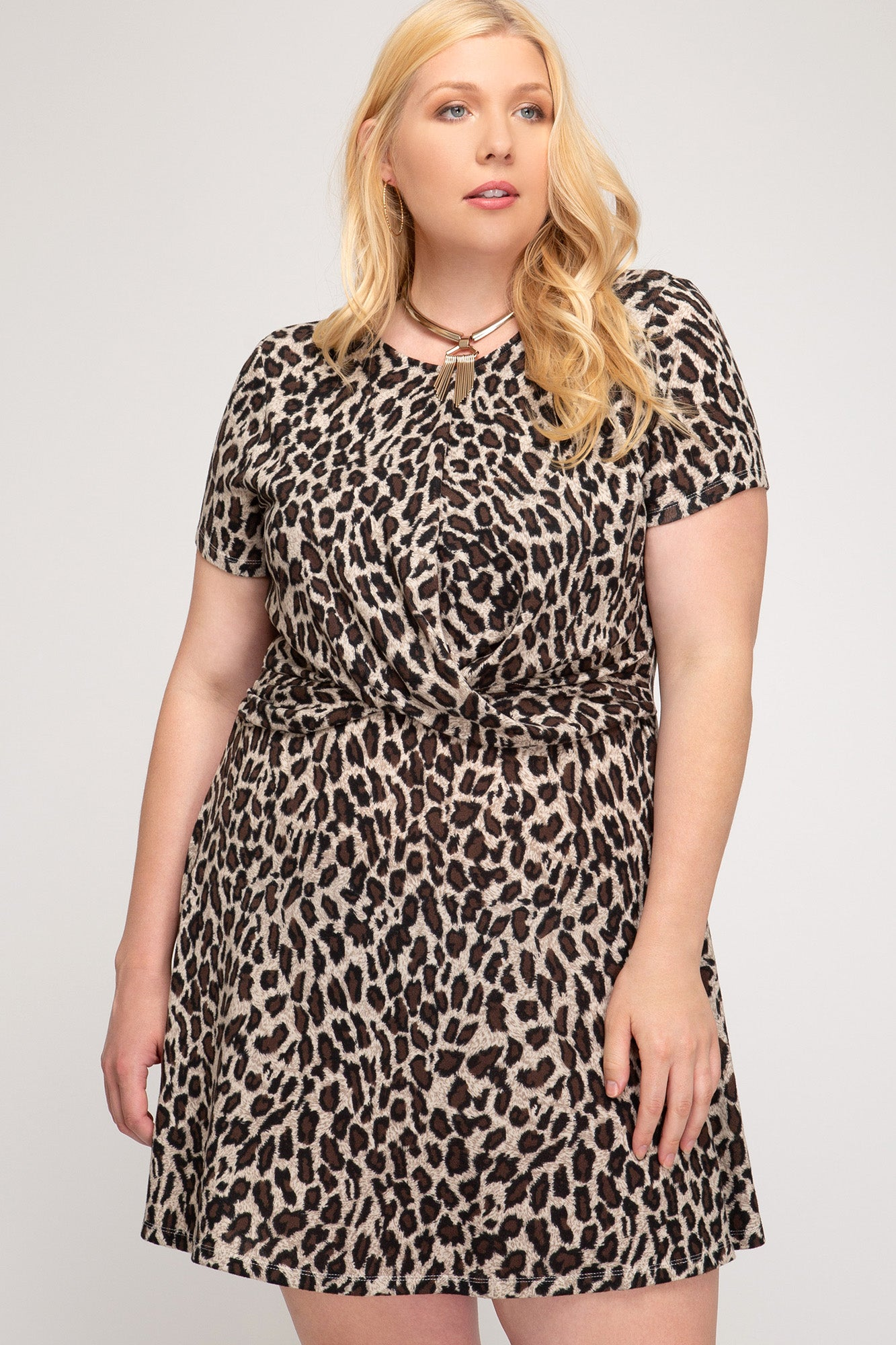 Adeline Leopard Print Plus Size Dress - Elizabeth's Boutique