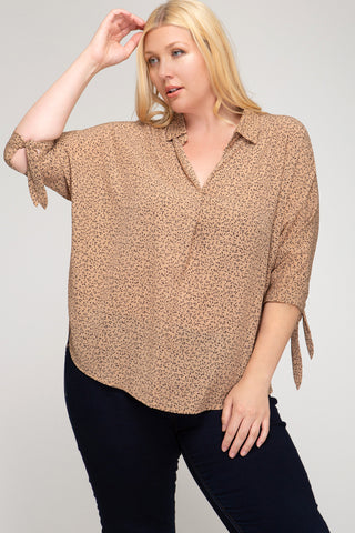 Gianna Printed Plus Size Top- Mocha - Elizabeth's Boutique