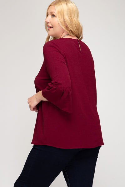 Sophia Wine Plus Size Top - Elizabeth's Boutique
