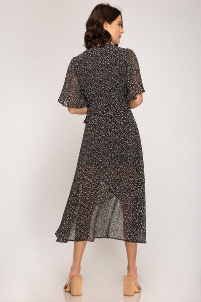 Living The Dream Printed Wrap Midi Dress