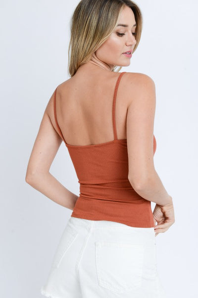 Rust Scoop Neck Buttoned Ribbed Knit Cami Top - Elizabeth's Boutique