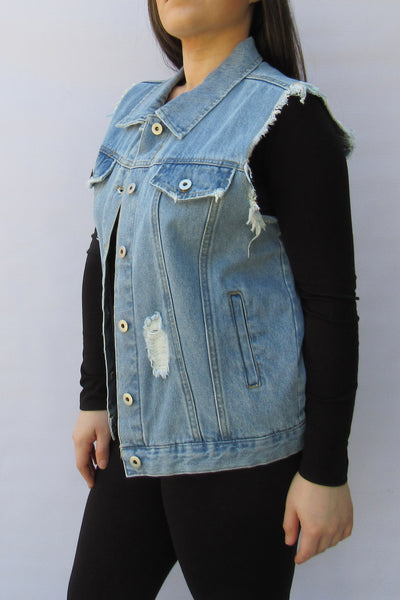 Distressed Denim Vest - Elizabeth's Boutique