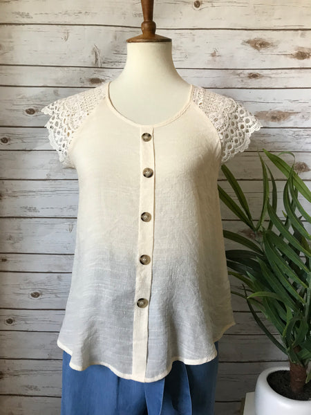Lacey Sleeve Top- Ivory - Elizabeth's Boutique