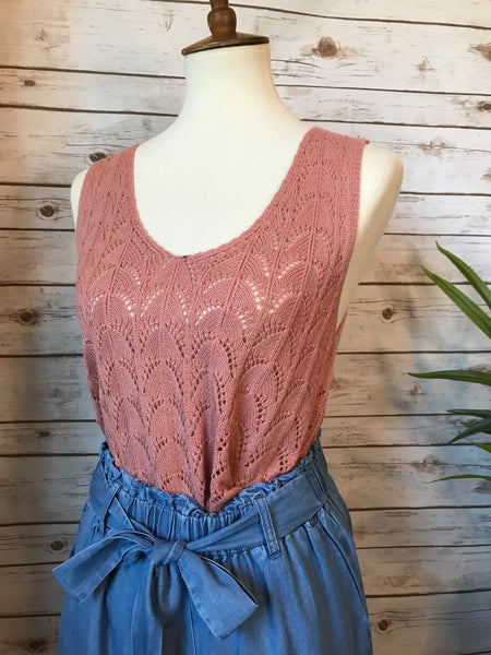 Jimena Knit Tank- Dusty Rose - Elizabeth's Boutique