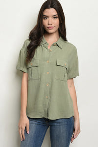 Olive Button Down Shirt - Elizabeth's Boutique
