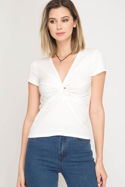 Short Sleeve Rib Knit Ivory Top - Elizabeth's Boutique