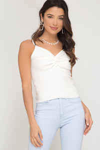 Off White Ribbed Cami Top - Elizabeth's Boutique