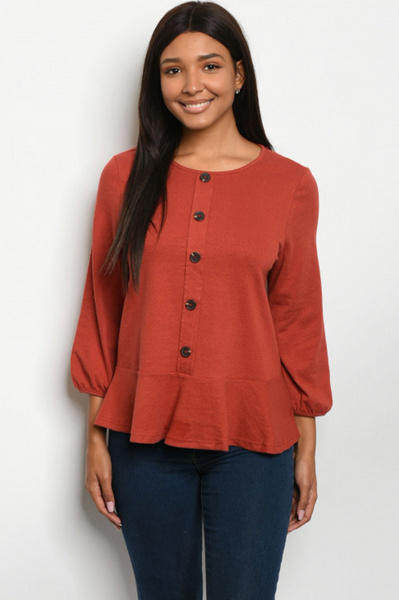 Paulina Rust Top - Elizabeth's Boutique