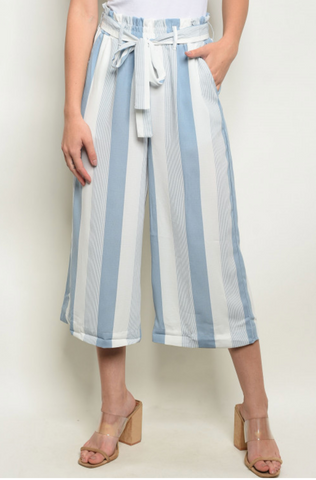 Blue Striped Pants - Elizabeth's Boutique