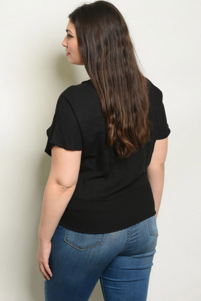 Caroline Black Plus Size Top - Elizabeth's Boutique