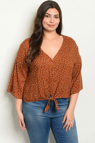 Christina Brown Polka Dot Plus Size Top - Elizabeth's Boutique