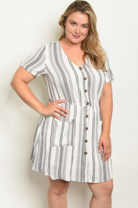 Angelica White Striped Plus Size Dress - Elizabeth's Boutique