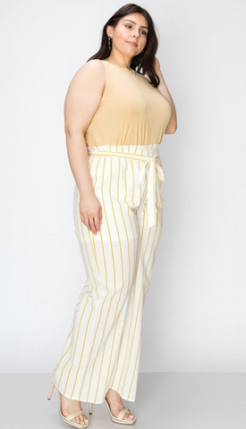 Megan Stripe Waist Tie Plus Size Pants - Elizabeth's Boutique