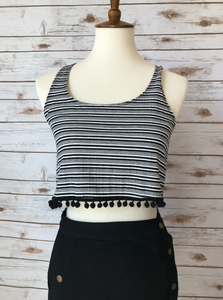 Black Striped Crop Top - Elizabeth's Boutique
