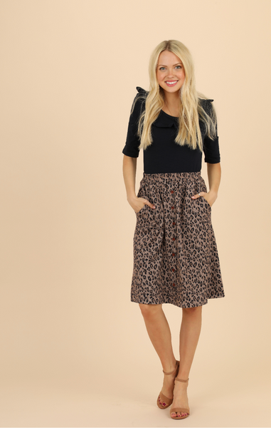Alice Button Front Skirt-Leopard - Elizabeth's Boutique