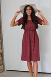 Raelyn Burgandy Dress - Elizabeth's Boutique