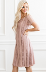 Elisie Dusty Pink Lace Dress - Elizabeth's Boutique