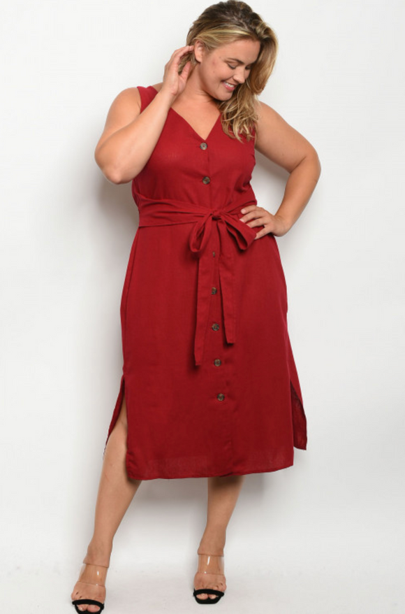 Lola Burgundy Plus Size Dress - Elizabeth's Boutique
