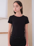 Camille Black Short Sleeve Scoop Neck Tee - Elizabeth's Boutique