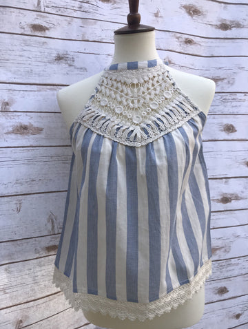 Alina Lace/Striped Halter Top - Elizabeth's Boutique