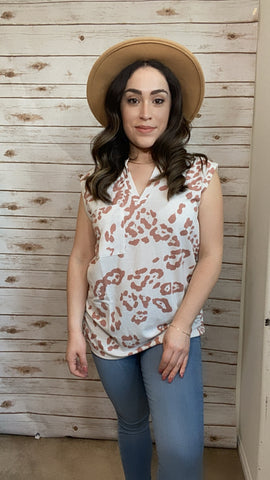 Leopard Sleeveless Top - Elizabeth's Boutique