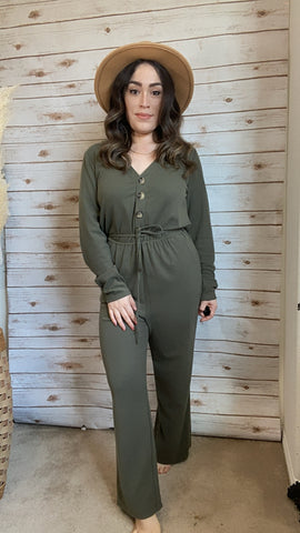 Naomi Olive Long Sleeve Jumpsuit - Elizabeth's Boutique