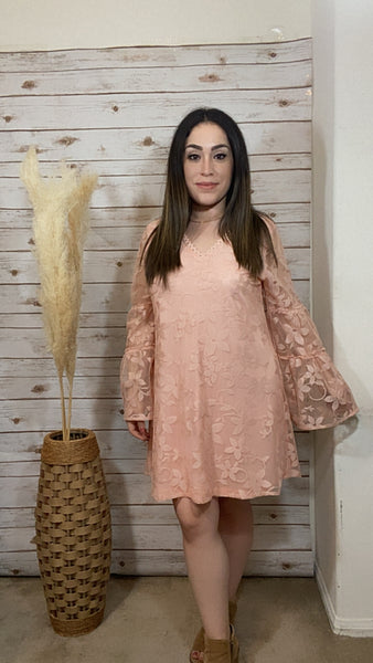 Miley Lace Bell Sleeve Dress-Blush - Elizabeth's Boutique