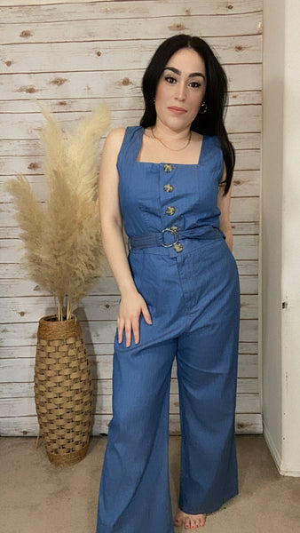 Indigo Denim Button Down Jumpsuit - Elizabeth's Boutique