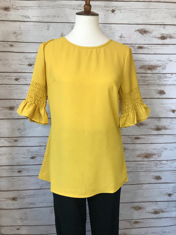 Mika Mustard Sleeved Top - Elizabeth's Boutique