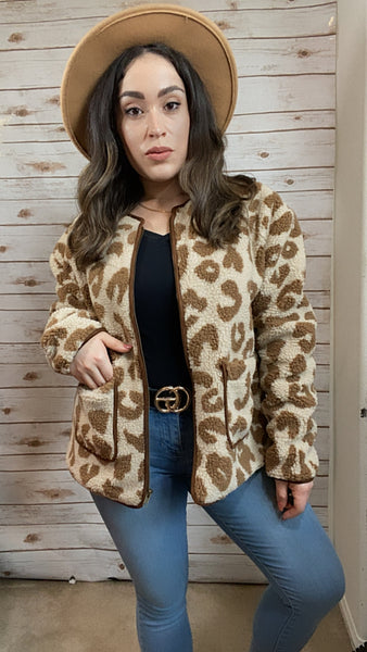 Giving All The Dreams Animal Print Teddy Jacket