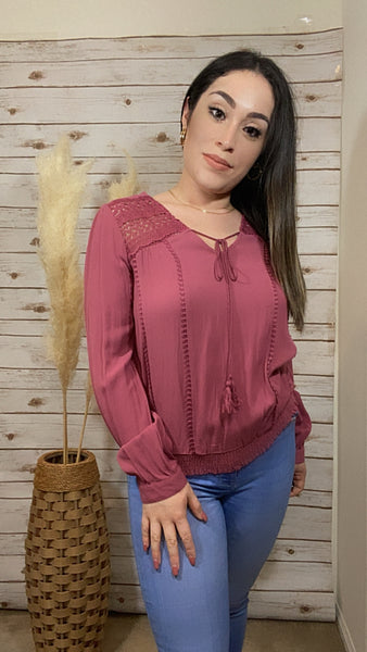 Charlotte Long Sleeve Woven Top- Dusty Rose - Elizabeth's Boutique