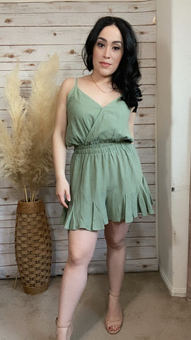 Madison Sage Romper - Elizabeth's Boutique