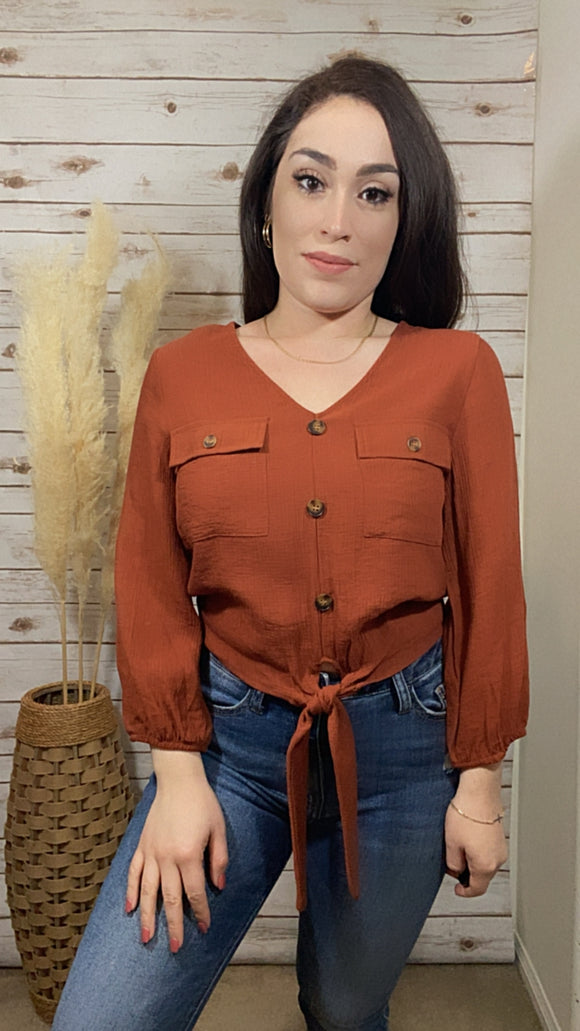 Audrina Tie-Front Button-Down Top- Chestnut - Elizabeth's Boutique