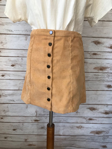 Hudson Mustard Front Button Skirt - Elizabeth's Boutique