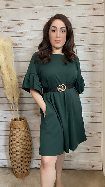 Emery Casual Ruffle Sleeve Tunic- Forest Green - Elizabeth's Boutique