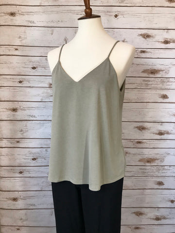 Smoked Green Spagetti Strap Top - Elizabeth's Boutique