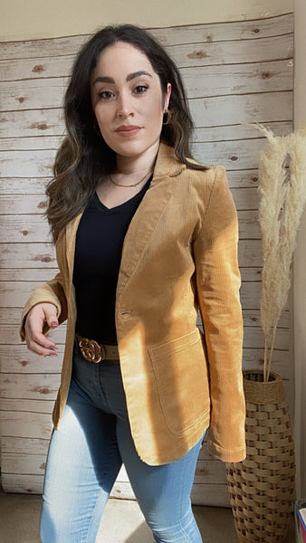 Corduroy Notched Collar Single Button Blazer - Elizabeth's Boutique