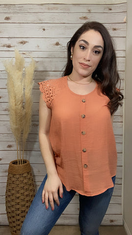 Lacey Sleeve Top-Orange - Elizabeth's Boutique
