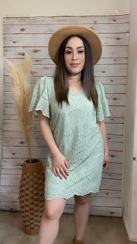 Faithful Love Eyelet Sage Dress - Elizabeth's Boutique